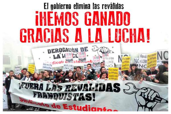 Etat espagnol. Victoire du Syndicat des étudiants contre le gouvernement du PP!