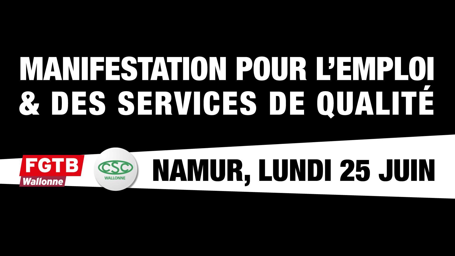 25 juin : manifestation en front commun à Namur