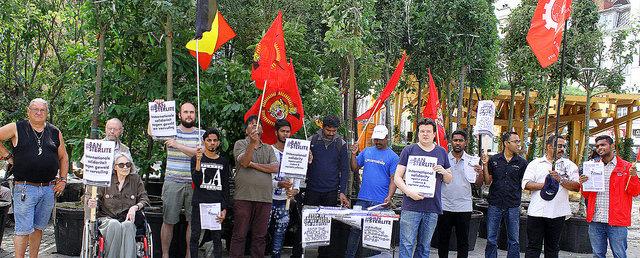 Anvers. Action de protestation contre la répression sanglante en Inde