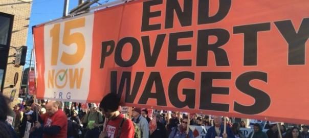 Nous exigeons notre part du gâteau :  un meilleur salaire minimum, maintenant !