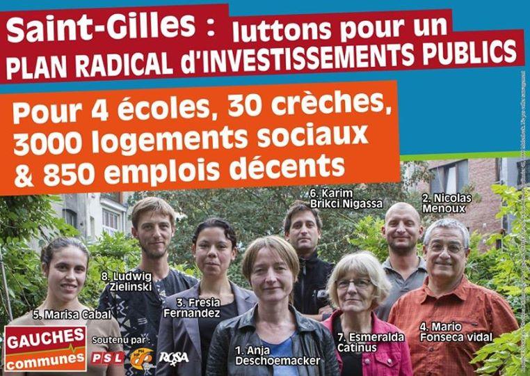 Saint-Gilles. Le programme de Gauches Communes : Luttons tous ensemble pour briser le carcan budgétaire !