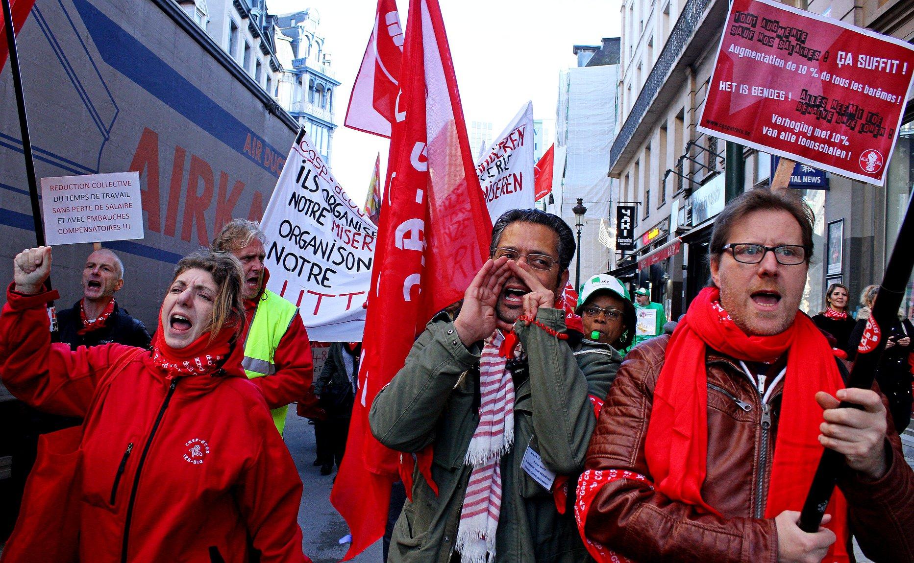 Bruxelles. Grève et manifestation du personnel des administrations locales et régionales