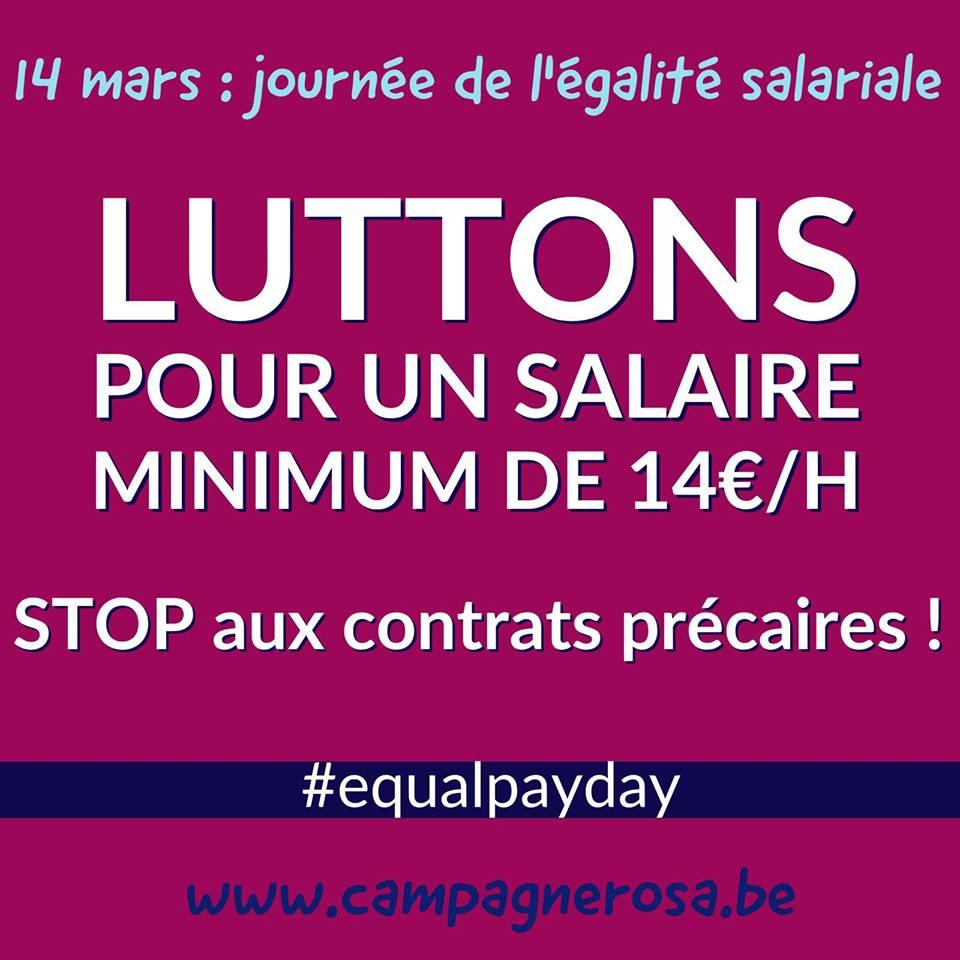 14 mars – Equal Pay Day. Pour un salaire minimum de 14€ de l'heure (2300€/mois)