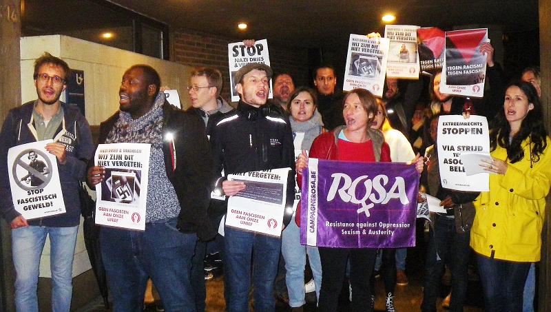 Mobilisation antifasciste contre la présence de Dries Van Langenhove à l'université d'Anvers