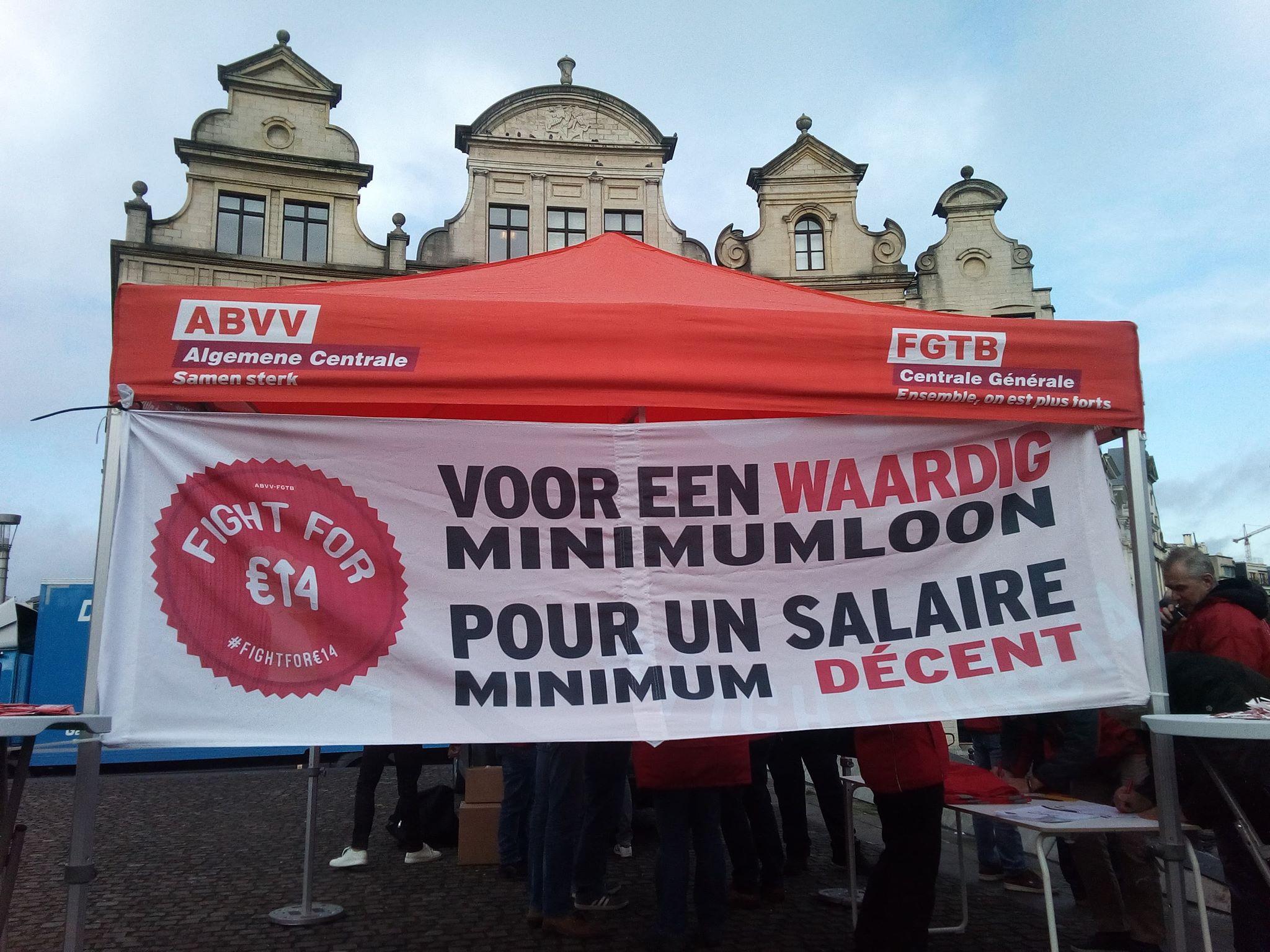 Bruxelles. Rassemblement en faveur d'un salaire minimum de 14 euros de l'heure