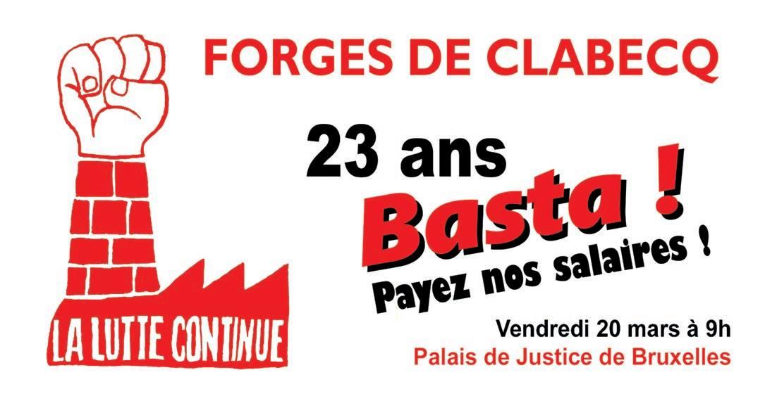 Jeudi 13 février à 10 h: soutenons les Anciens de Clabecq !
